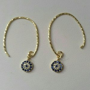 14k YG Plated simulated blue & white dia.earrings